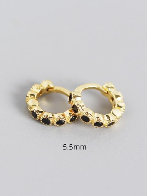 5.5mm gold black stone 925 Sterling Silver Cubic Zirconia Geometric Minimalist Huggie Earring