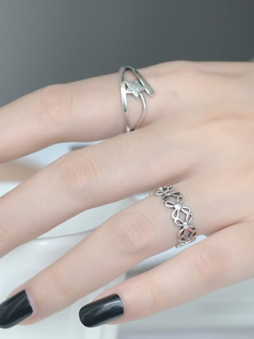 ARTTI 925 Sterling Silver Hollow Clover Vintage Band Ring 1