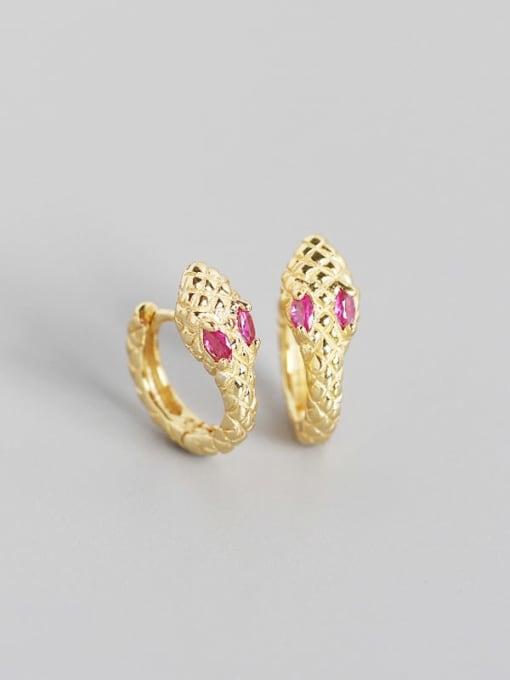 Golden Rose  Stone 925 Sterling Silver Cubic Zirconia Snake Vintage Huggie Earring