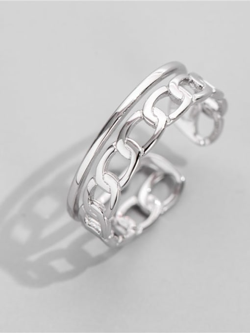 ARTTI 925 Sterling Silver Geometric Chain Vintage Band Ring 0