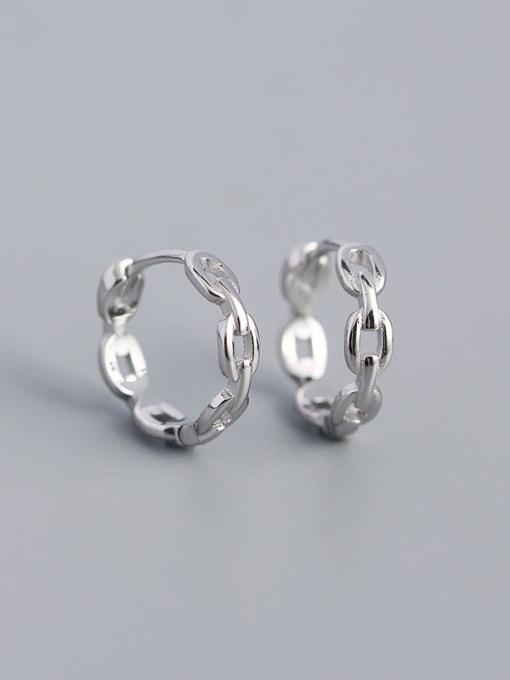 Platinum 925 Sterling Silver  Hollow Geometric Minimalist Huggie Earring