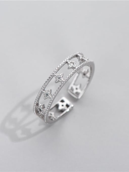 Hollow star ring 925 Sterling Silver Cubic Zirconia Star Minimalist Stackable Ring