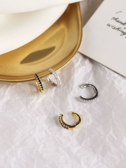 ACE 925 Sterling Silver Rhinestone White Geometric Dainty Clip Earring 0
