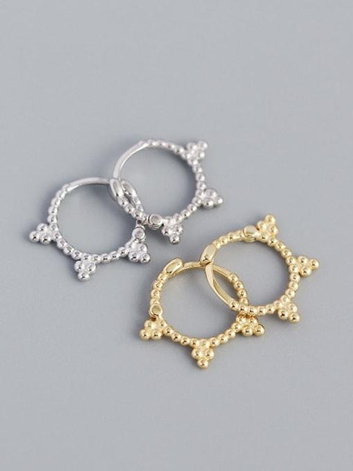 ACE 925 Sterling Silver Geometric Vintage Huggie Earring