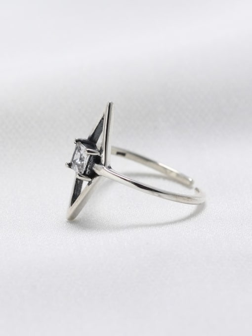 ACE 925 Sterling Silver Cubic Zirconia White Geometric Minimalist Solitaire Ring 2