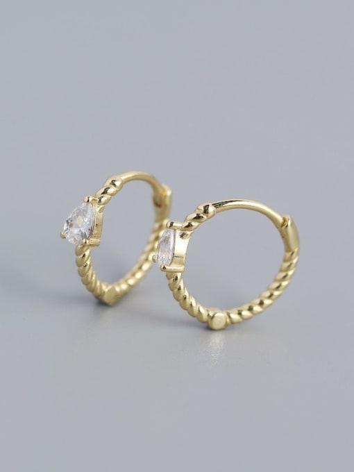 Golden (white stone) 925 Sterling Silver Cubic Zirconia Geometric Trend Huggie Earring