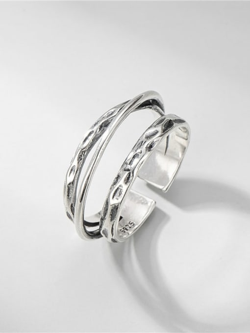 Texture ring 925 Sterling Silver Geometric Vintage Stackable Ring