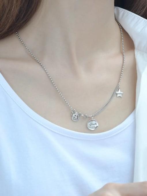 ARTTI 925 Sterling Silver Geometric Vintage Asymmetric chain Necklace 1
