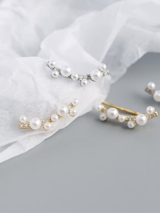ACE 925 Sterling Silver Imitation Pearl Geometric Minimalist Stud Earring