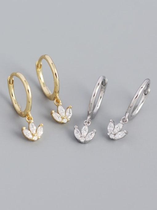 ACE 925 Sterling Silver Cubic Zirconia Leaf Vintage Huggie Earring