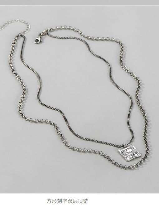 Square brand Necklace 925 Sterling Silver Bead Geometric Vintage Multi Strand Necklace