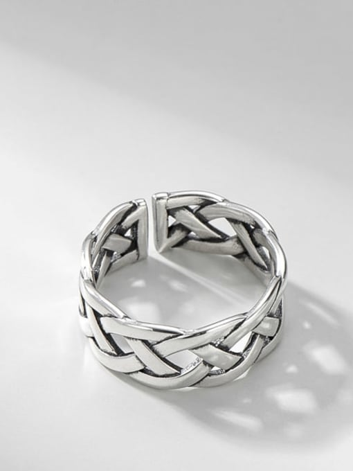 Woven ring 925 Sterling Silver Geometric Vintage Band Ring
