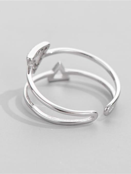 ARTTI 925 Sterling Silver Cubic Zirconia Triangle Minimalist Band Ring 2
