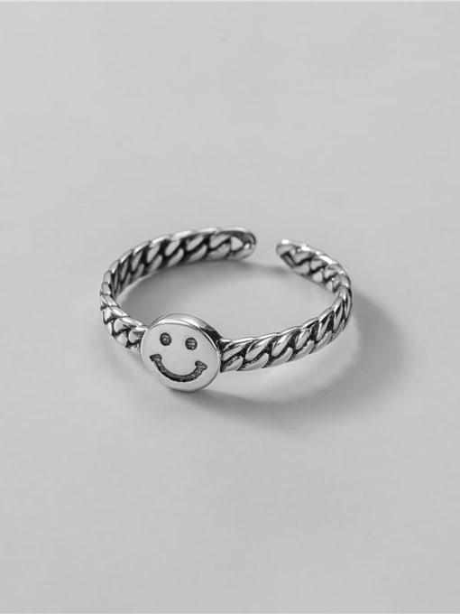 ARTTI 925 Sterling Silver Smiley Vintage Band Ring 2