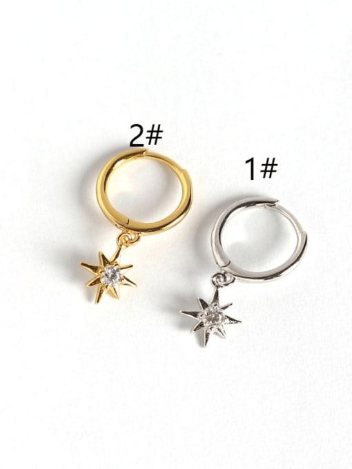 ACE 925 Sterling Silver Rhinestone White Star Minimalist Huggie Earring 2