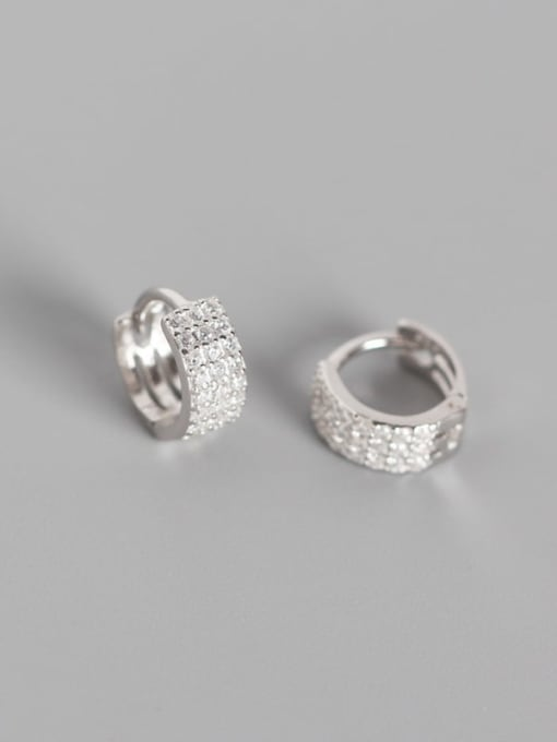 1#Platinum 925 Sterling Silver Cubic Zirconia White Geometric Trend Huggie Earring
