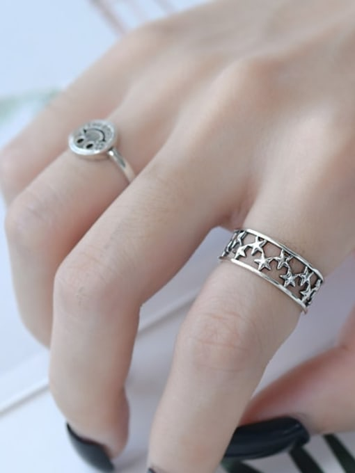 ARTTI 925 Sterling Silver Star Vintage Band Ring 2