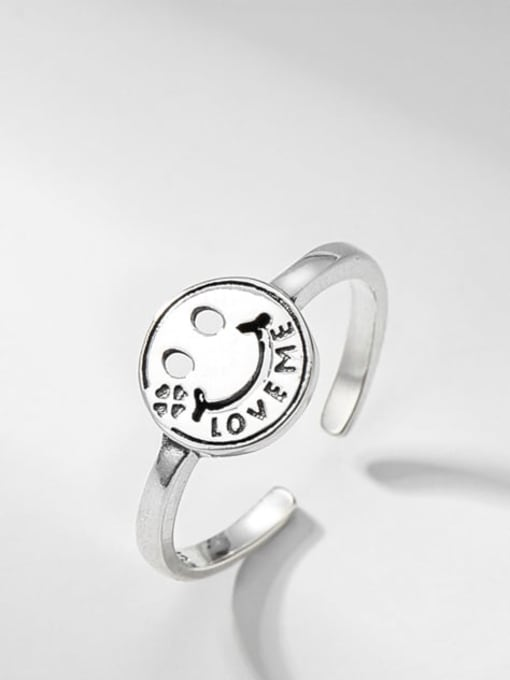 Smiling face ring 925 Sterling Silver Smiley Vintage Band Ring