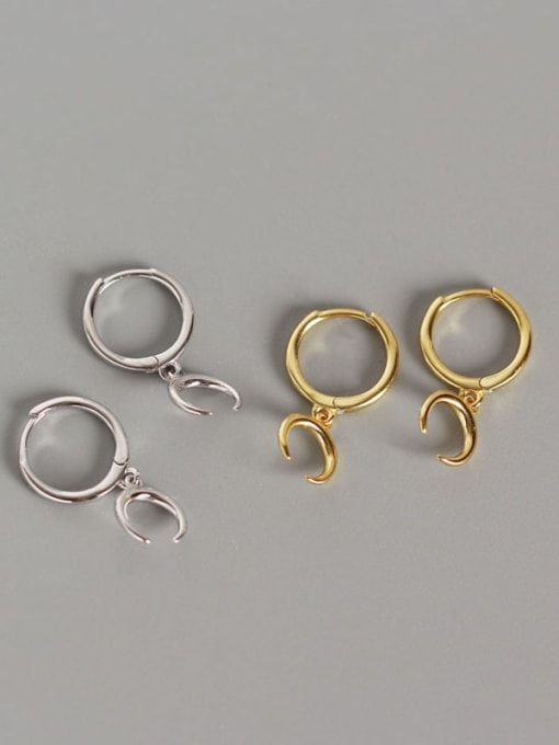 ACE 925 Sterling Silver Moon Classic Huggie Earring