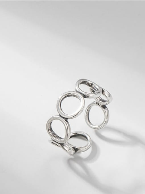 Hollow ring 925 Sterling Silver Geometric Minimalist Band Ring