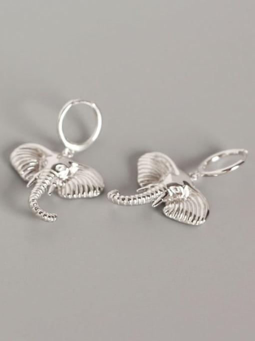 Platinum 925 Sterling Silver Elephant Artisan Huggie Earring