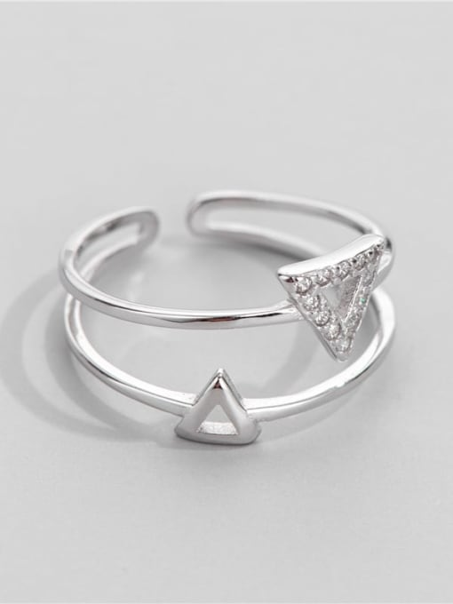 ARTTI 925 Sterling Silver Cubic Zirconia Triangle Minimalist Band Ring 1