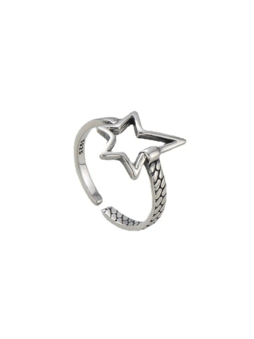 ARTTI 925 Sterling Silver Hollow Five Pointed Star  Vintage Band Ring 2