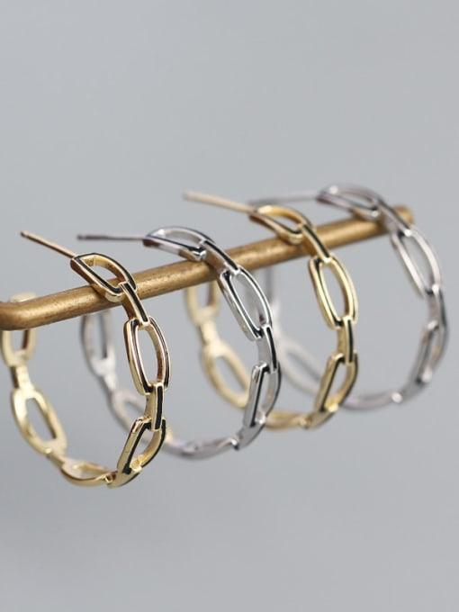 ACE 925 Sterling Silver Cubic Zirconia Geometric Minimalist Hoop Earring 1