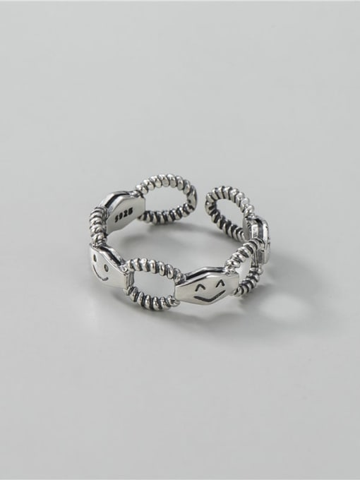 ARTTI 925 Sterling Silver Hollow Geometric Smiley Vintage Band Ring 2