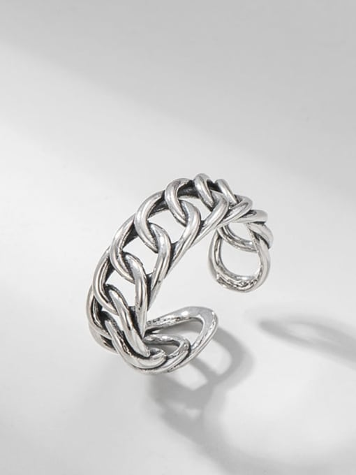 Thick chain ring 925 Sterling Silver Geometric Vintage Band Ring