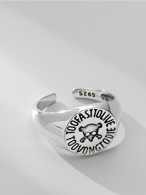skull ring 925 Sterling Silver Geometric Vintage Skull Band Ring