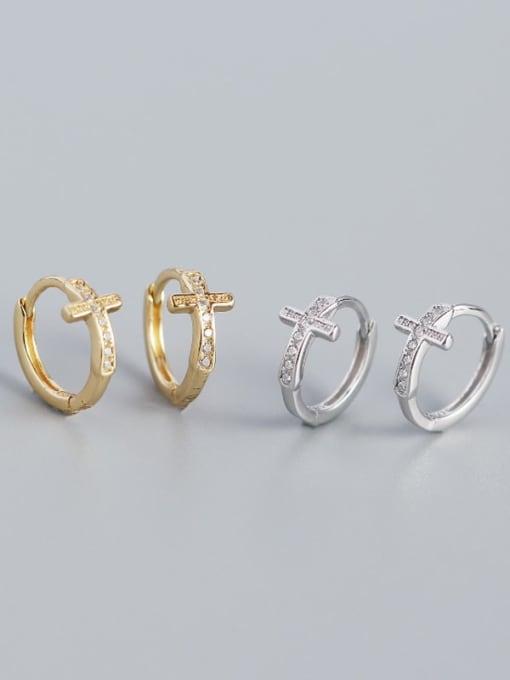 ACE 925 Sterling Silver Cubic Zirconia Cross Minimalist Huggie Earring