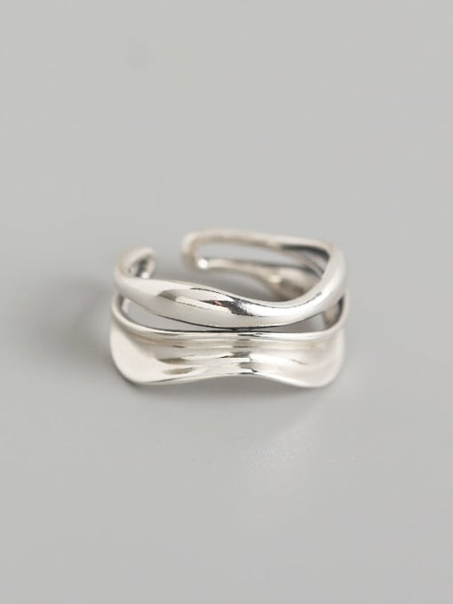 ACE 925 Sterling Silver Geometric Artisan Band Ring 0