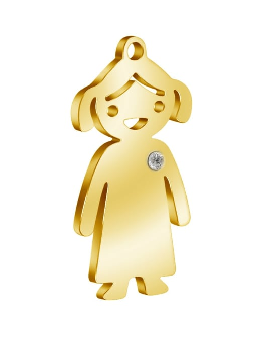 Girl - gold Color 304L Steel Boy or Girl Pendant, Width:14mm,Height:25mm