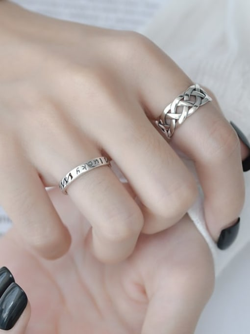 ARTTI 925 Sterling Silver Letter Vintage Band Ring 2