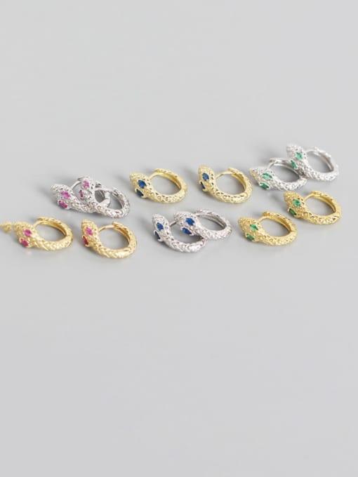 ACE 925 Sterling Silver Cubic Zirconia Snake Vintage Huggie Earring