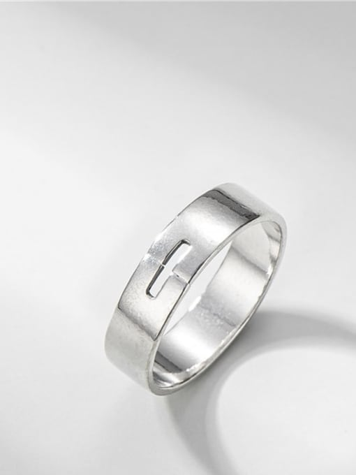 One line smooth ring 925 Sterling Silver Geometric Minimalist Band Ring