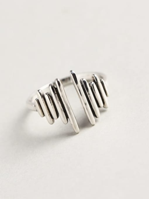 ACE 925 Sterling Silver Geometric Trend Band Ring 0