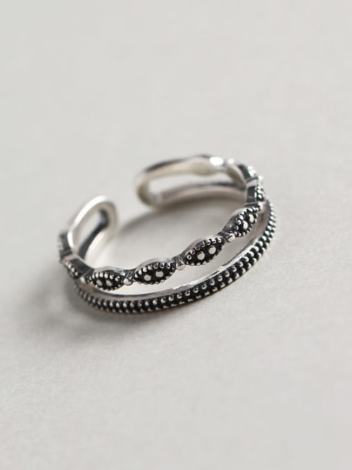 ACE 925 Sterling Silver Geometric Vintage Stackable Ring 0