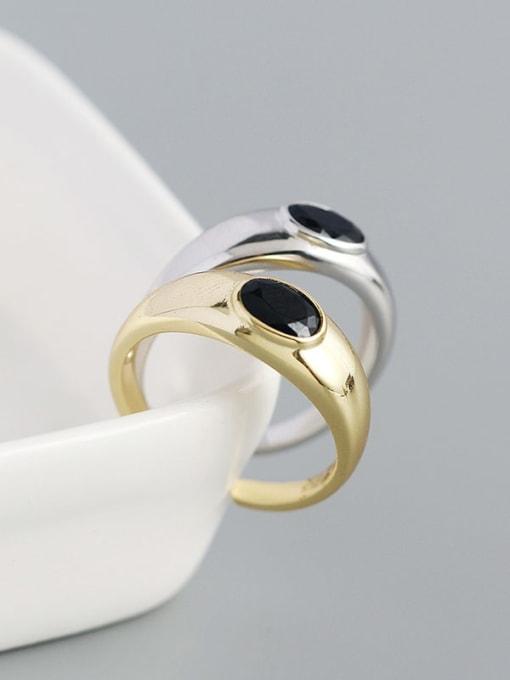 ACEE 925 Sterling Silver Enamel Geometric Minimalist Band Ring 2