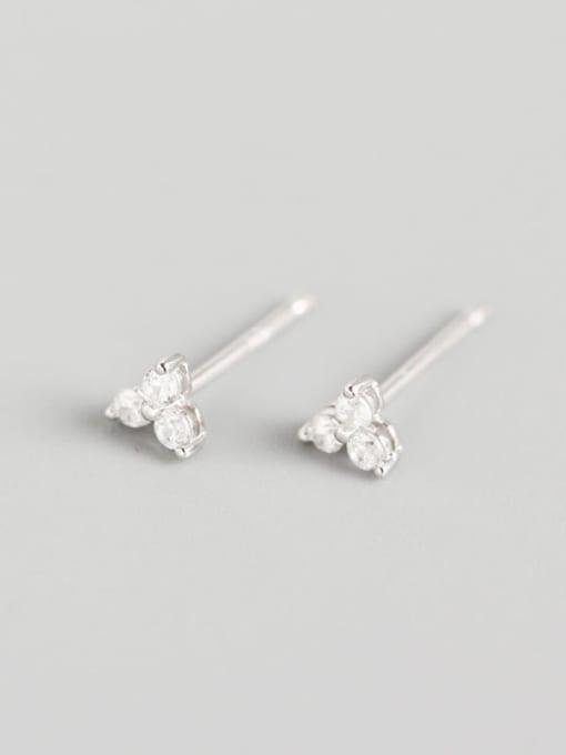 1#Platinum 925 Sterling Silver Rhinestone White Clover Trend Stud Earring