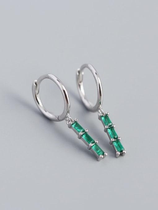 White Gold greenstone 925 Sterling Silver Cubic Zirconia Geometric Vintage Huggie Earring