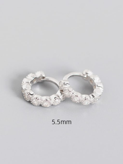 5.5mm Platinum White Stone 925 Sterling Silver Cubic Zirconia Geometric Minimalist Huggie Earring