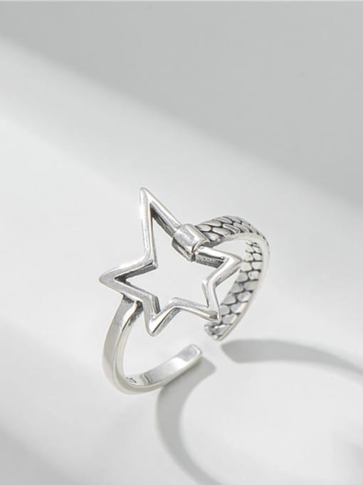 Hollow five pointed star ring 925 Sterling Silver Hollow Five Pointed Star  Vintage Band Ring