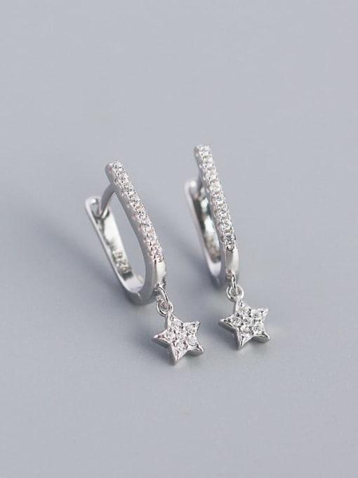 Platinum 925 Sterling Silver Cubic Zirconia Star Minimalist Huggie Earring