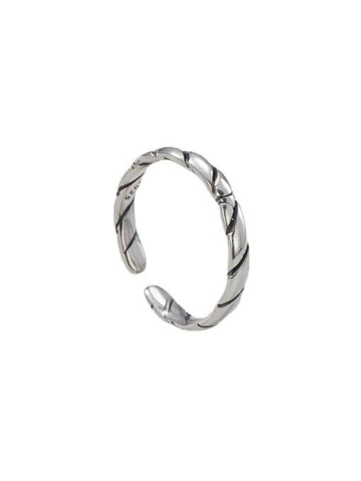 Thread twist ring 925 Sterling Silver Round Vintage Band Ring