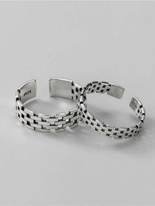 men 925 Sterling Silver Irregular Vintage Band Ring