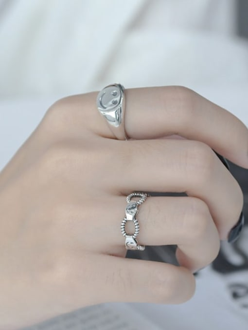 ARTTI 925 Sterling Silver Hollow Geometric Smiley Vintage Band Ring 1