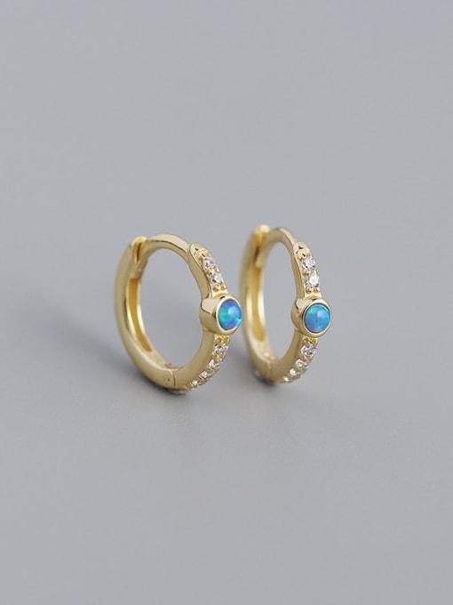 Golden 925 Sterling Silver Opal Geometric Vintage Huggie Earring