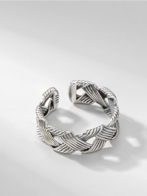 Woven ring 925 Sterling Silver Geometric Vintage Midi Ring